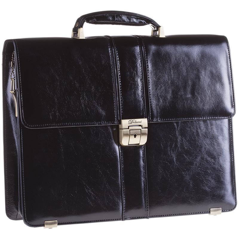 5734aab76757 198414, Портфель Delucci Гиперион кожа, черный ...